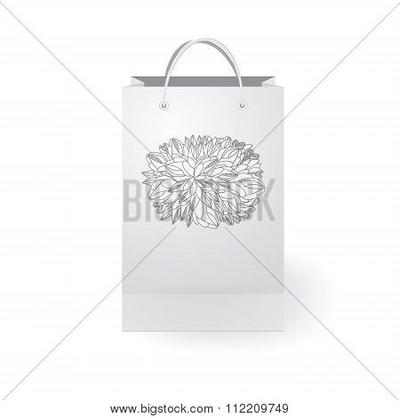 Stock Vector Isolated Paper Shopping Bag On The White Background With Floral Ornament