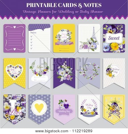 Vintage Pansy Flowers Card Set - for birthday, wedding, baby shower, party, design - in vector