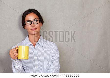 Pensive Adult Lady Holding Coffee Mug