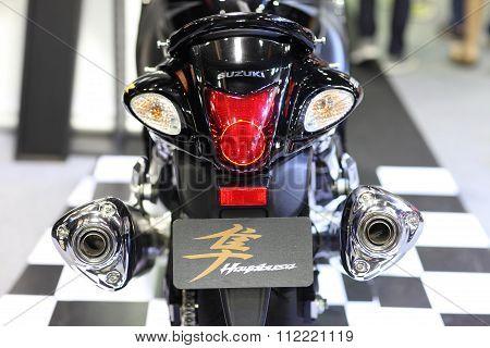 Bangkok - December 11 : Zoom Back Of Suzuki Hayabusa Motorcycle On Display At The Motor Expo 2015 On