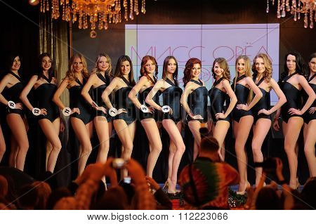 Orel, Russia - December 20, 2015: Miss Orel 2015 Beauty Contest. Swimsuits Defile On The Stage