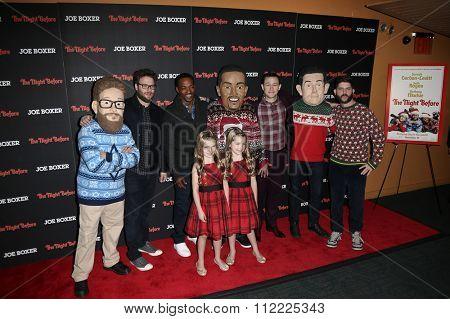 NEW YORK-NOV 16: (L-R) Seth Rogen, Anthony Mackie &Joseph Gordon-Levitt attend the screening of Columbia Pictures
