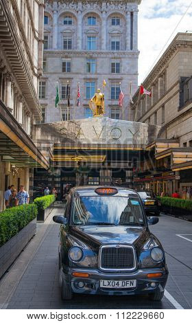 LONDON, UK - 22 JULY, 2015: Savoy hotel, one of the best holes in London and Europe. Main entrance
