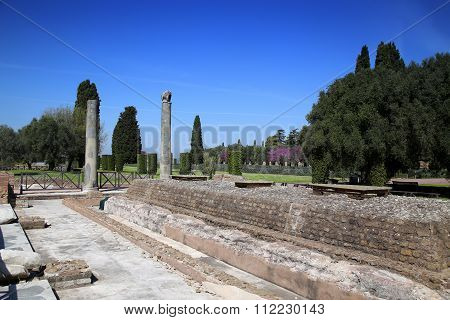 Ancient Ruins Of Villa Adriana ( The Hadrian's Villa ), Quadriporch, Tivoli, Italy