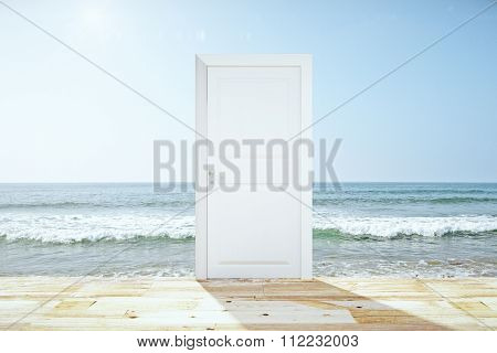 Doorway Spliting Wooden Floor And Ocean