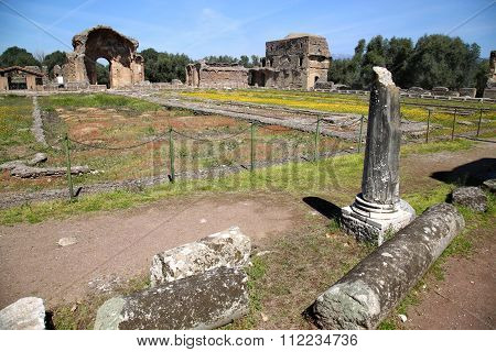 Ancient Ruins Of Villa Adriana ( The Hadrian's Villa ), Piazza D'oro (gold Square) Tivoli, Italy