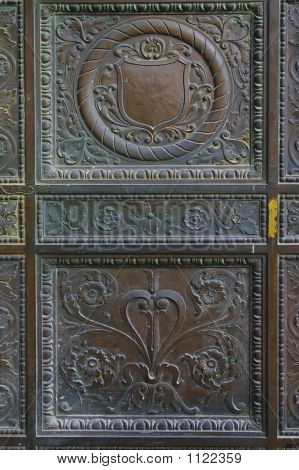 details of old bronze door - abstract background poster
