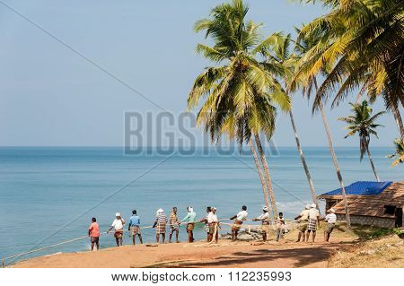 Fishermen At Varkala Beach.