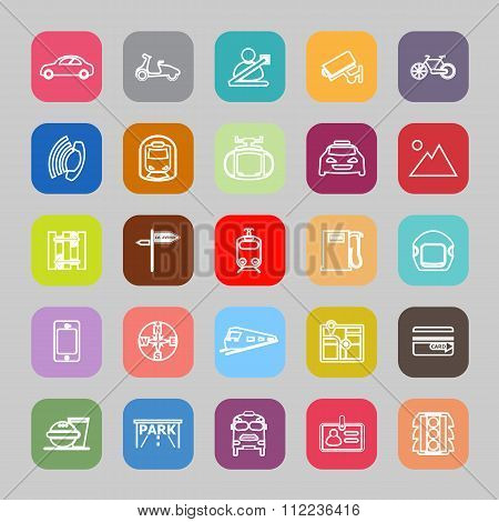 Land Transport Related Line Flat Icons