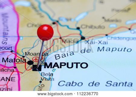 Maputo pinned on a map of Africa