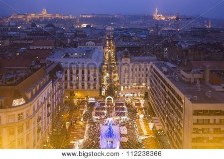 Christmas market in St. Stephen Square, Budapest, Hungary - View From St. Stephen's Basilica