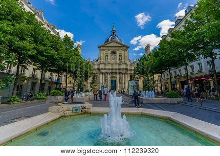 Sorbonne, edifice in the parisian Latin Quarter, which was former University of Paris.