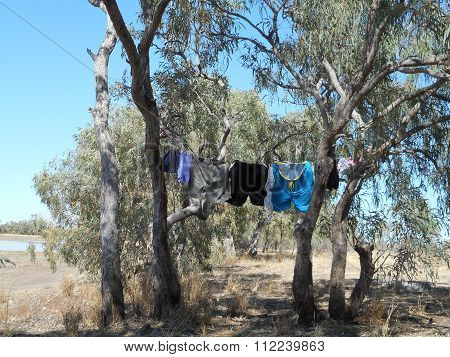 Clothes hanging out to dry while camping