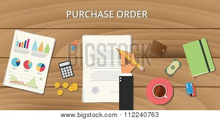 purchase order document procurement concept graph money wallet credit coin