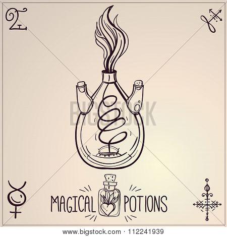 Hand drawn vintage alchemical laboratory icon