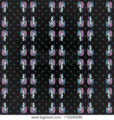 Flower Petals On A Geometric Background Grunge Effect Abstract Colored Seamless Vector Pattern