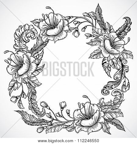 Vintage floral highly detailed hand drawn wreath of flowers and feathers.Retro banner, invitation, w