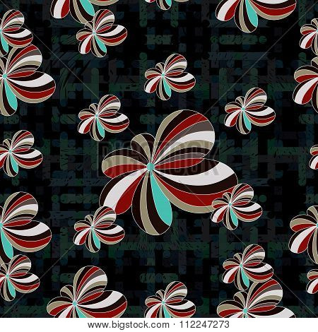 Flowers Abstract Seamless Vector Background Pattern