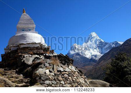 Buddhist Stupa and Ama Dablam