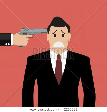 Gun Point To Businessman Head
