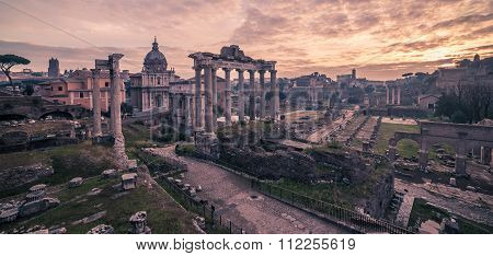 Rome, Italy: The Roman Forum in sunrise