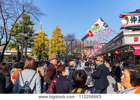 Many People shopping street in Asakusa area neary Senso-ji Temple