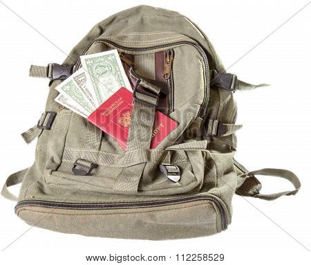 Backpack Of Color Khaki On Which The Russian Passport And Some Notes On One Dollar Lies