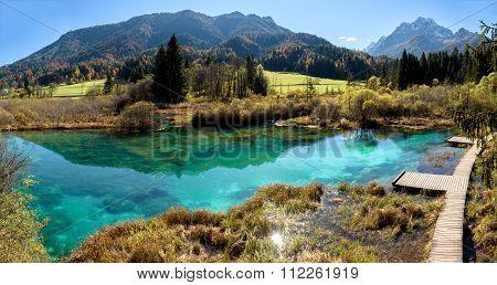 Zelenci Lake In Slovenia.