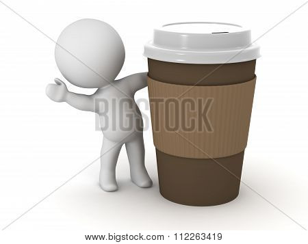3D Character Waving From Behind Coffee Cup