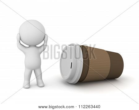 3D Character Stressed And Coffee Cup