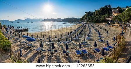 Beach At Sunset In Lerici, Liguria