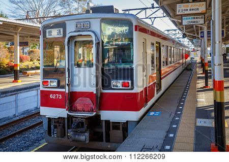 Nikko Japan - November 16 2015: Tobu Nikko line takes people from Asakusa station in Tokyo to Nikko city a famous world heritage site in Tochigi prefecture