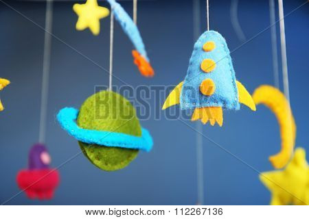 Fleeced space decor on blue background