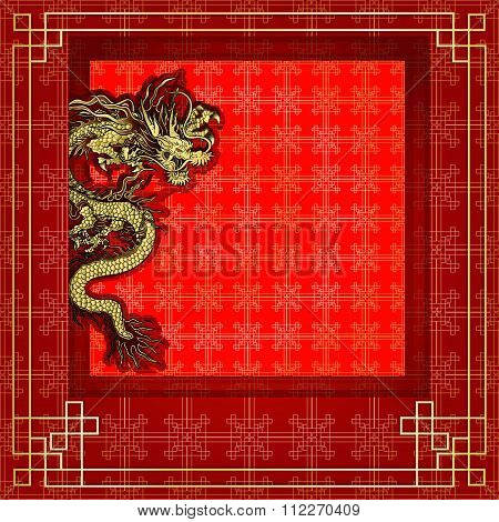 Frame Red Dragon Gold-colored Sticker 8