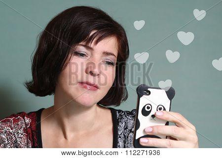 Woman Chatting  Boyfrend  Mobile Dating Service