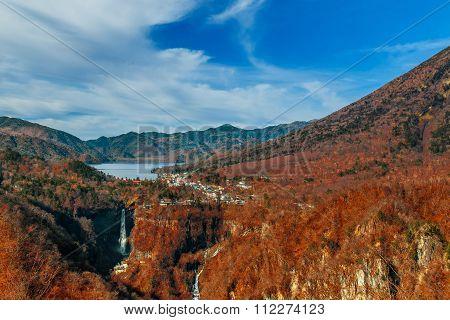 Lake Chuzenji with Kegon Waterfall at Nikko National Park in Tochigi Prefecture in Japan