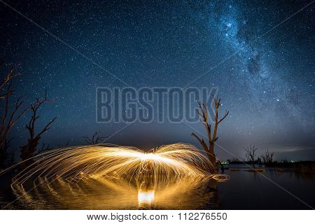 Steel Wool being spun in Lake Bonney, South Australia