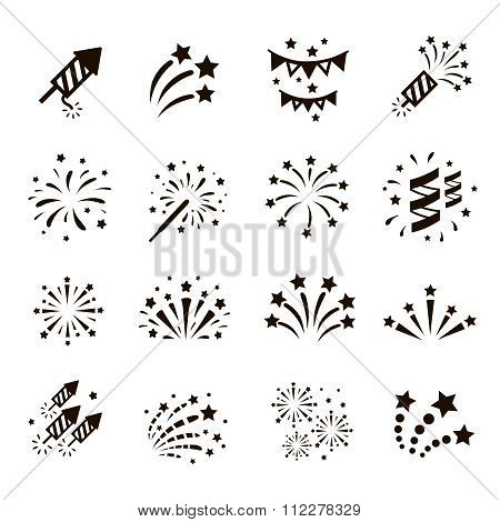 Firework icon set , vector