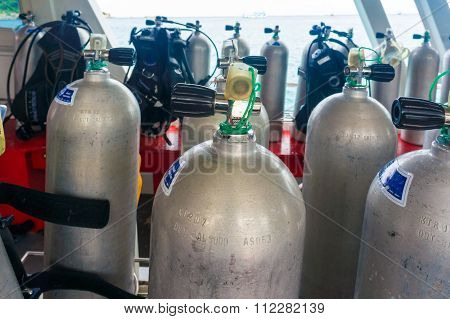 Oxygen Air Tanks And Gear For Scuba Diving