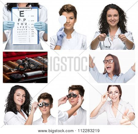 The collage  with optometrist and glasses