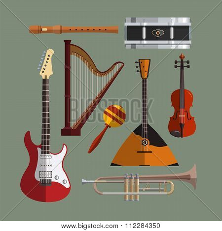 Musical instruments collection. Music icon vector set. Flat design illustration with musical objects