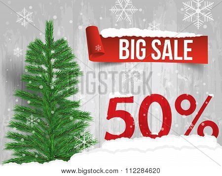 Winter Sale 50 Percent. Winter Sale Background With Red Ribbon Banner And Snow. Sale. Winter Sale. C