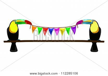 Illustration Of Two Toucans With Varicolored Flags On White Background