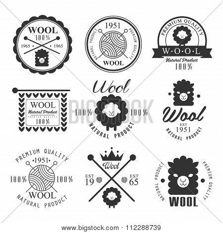 Wool labels and elements. Stickers, emblems natural wool products.