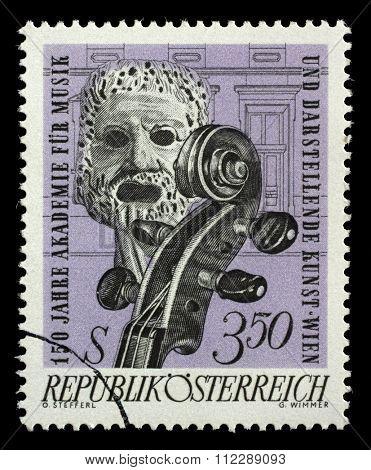 AUSTRIA - CIRCA 1967: stamp printed by Austria, shows Tragic Mask and Violin, circa 1967