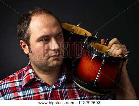 Portrait Of Musician With Bongo