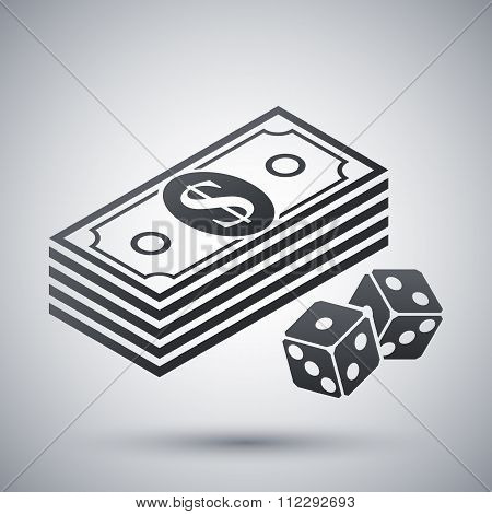 Vector Bundle Of Dollars And Dices Icon