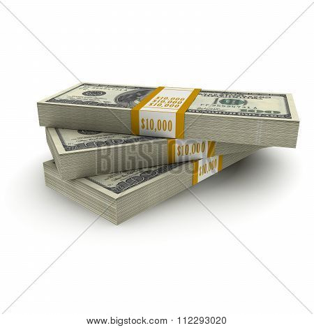 Ten Thousand Us Dollar Note Stacks Isolated On White Background