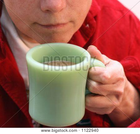 Baby Boomer Woman Drinking Coffee