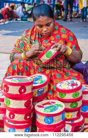 Artist Works On Handicraft Items